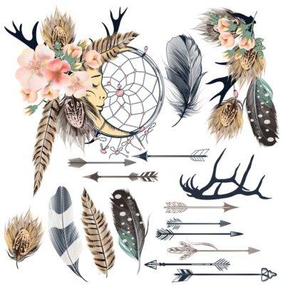 Plakat Moda zestaw plemiennych wektor boho elementów