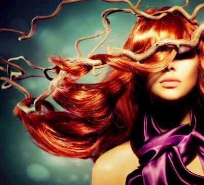 Plakat Model Portret Fashion kobieta z długimi włosami Red Curly