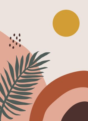 Plakat Modern abstract aesthetic background with hand drawn shapes and leaves. Wall decor in boho style. Mid century vector print for cover, wallpaper, card, social media, interior decor