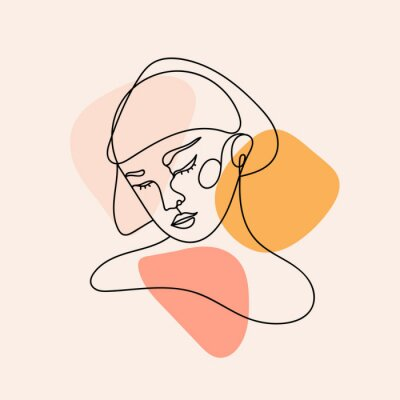 Plakat Modern abstract face. Contemporary female silhouette. Hand drawn outline trendy vector illustration. Continuous line, minimalistic concept. Pastel colors