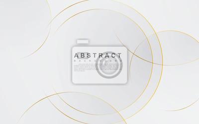Plakat Modern abstract light silver background vector. Elegant circle shape design with golden line.