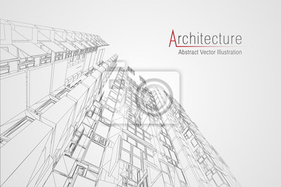 Plakat Modern architecture wireframe. Concept of urban wireframe. Wireframe building illustration of architecture CAD drawing.
