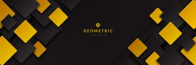 Plakat Modern black and yellow golden color square overlap pattern on dark background with shadow. Abstract trendy color geometric shape with copy space. Futuristic and technology concept. Vector EPS10.