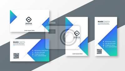 Plakat modern blue triangle business card design