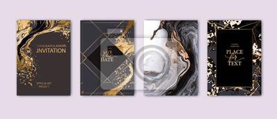 Plakat Modern card design. Hand drawn splatters. Marble texture. Gold, white, black colors brochure, flyer, invitation template. Business identity style. Geometric shape. Vector.
