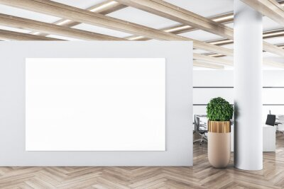 Plakat Modern concrete office interior with empty banner on wall and wooden floor. Advertisement concept. 3D Rendering.