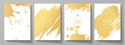 Plakat Modern cover design set. Creative art pattern with gold brush stroke, paint drop (spot) on white background. Luxury artistic vector collection for grunge notebook, flyer, poster, brochure template