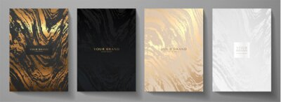 Plakat Modern elegant cover design set. Luxury fashionable background with abstract marble pattern in gold, black, silver color. Elite premium vector template for menu, brochure, flyer layout, presentation