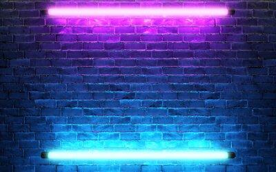 Plakat Modern futuristic neon lights on old grunge brick wall room background. 3d rendering