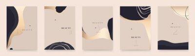 Plakat Modern golden abstract universal background templates. Minimalist aesthetic.