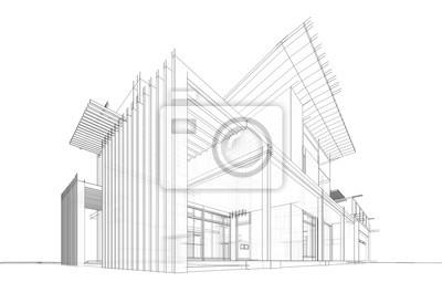 Plakat modern house building architecture 3d illustration