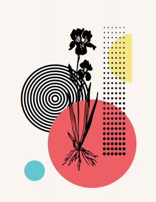 Plakat Modern illustration with floral and geometrical shapes: colorful circles, halftones, optical illusion, hand drawn flower.