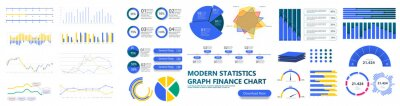 Plakat Modern infographic template with stock diagrams and statistics bars, line graphs and charts for finance report. Diagram template and chart graph, graphic information visualization. UI, UX, GUI. Vector