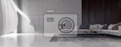 Plakat Modern interior design of living room 3D Rendering