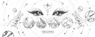 Plakat Modern magic witchcraft card with solar system, four elements and fortune teller eyes. Hand drawing occult vector illustration of water, earth, fire, air