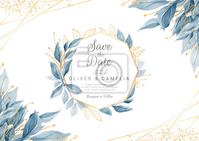 Plakat Modern navy blue wedding invitation card template with watercolor floral frame and border. Greenery floral border save the date, invitation, greeting card vector