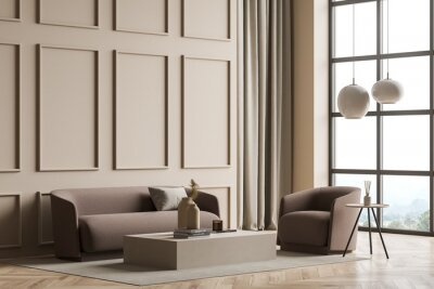 Plakat Modern panoramic beige living room with wall moulding