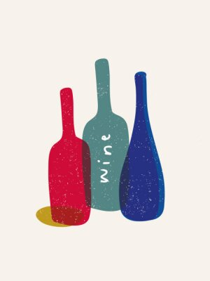 Plakat Modern poster with wine bottles. Hand drawn elements for bar menu, party, alcohol drinks. Vector illustration.