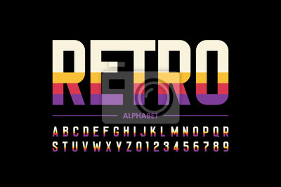 Plakat Modern retro style font design, alphabet letters and numbers