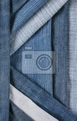 modne i stylowy teksturowanej tle z poziomej i przekątnej paski denim różnych niebieski