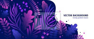 Plakat Modny naturalny poziomy tło z gradientową bujną tropikalną roślinnością, egzotycznymi liśćmi lub dżungli liśćmi i miejsce dla teksta. Nowożytna botaniczna wektorowa ilustracja dla reklamy.