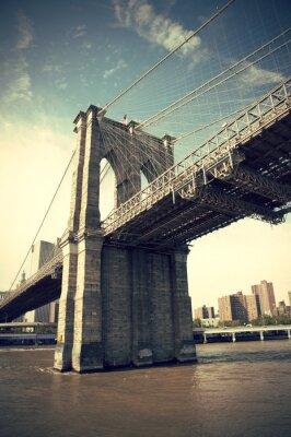 Plakat Molo z Brooklyn Bridge w Nowym Jorku, styl vintage, Manhattan, Nowy Jork, USA