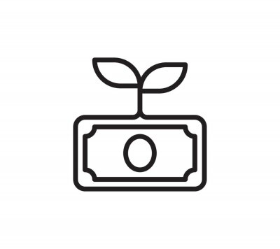 Plakat Money growth icon. Financial investment and profit color line icon. Vector symbol in trendy flat style on white background. Web sing for design.