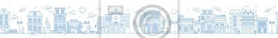 Plakat Monochromatyczny bezszwowy miastowy krajobraz z miasto ulicą lub okręgiem. Pejzaż miejski z mieszkaniowymi domami i sklepami rysującymi z konturowymi liniami na białym tle. Ilustracji wektorowych w st