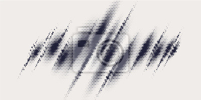 Plakat Monochrome printing raster, abstract vector halftone background.