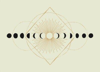 Plakat Moon phases geometry vintage occult illustration t-shirt print