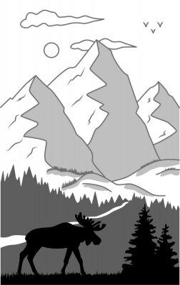 Plakat moose in wild nature landscape illustration