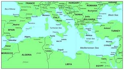 Plakat Morze Mapy Serie Morze Srodziemne Na Wymiar Tekstura