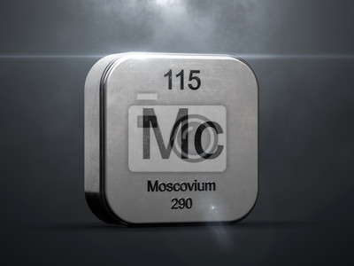 Plakat Moscovium element 115 from the periodic table. Metallic futuristic icon 3D rendered with nice lens flare