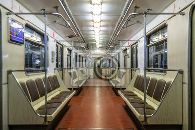 Plakat Moscow, Russia - August, 8, 2019: interior of Moscow subway carriage.