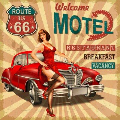 Plakat Motel route 66 vintage poster