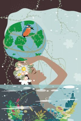 Plakat Mother earth day poster with nature beauty woman holding planet, World environment day background, Save the earth or Green day concept
