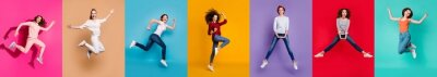 Plakat Motivation motion yes yeah concept. Full body collage of seven beautiful cheerful nice lucky different pretty ladies millennials in casual outfit jumping up isolated over multicolored background