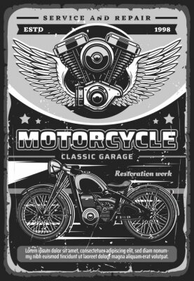 Plakat Motorcycle repair garage station, vector poster with chopper motorbike, vehicle engine, motor pistons and cylinder with wings. Restoration service, diagnostics and maintenance