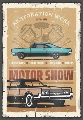 Plakat Motorowy plakat retro ze starymi zabytkowymi pojazdami