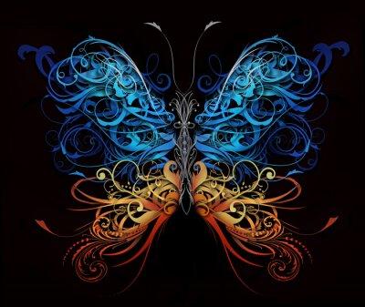 Plakat motyl z rozmachem abstrakcyjnych kształtów
