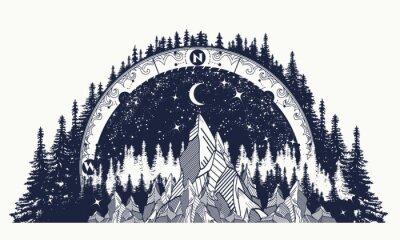 Mountain Antyczny Kompas I Róża Wiatrów Tatuaż Plakaty Redro
