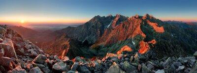 Plakat Mountain sunset panorama ze szczytu - Słowacja Tatry