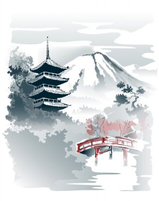 Plakat Mountain temple, Pagoda and red bridge under the mountain. Vector drawing in traditional japanese style sumi-e.