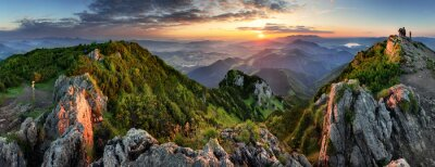 Plakat Mountain valley during sunrise. Natural summer landscape in Slovakia