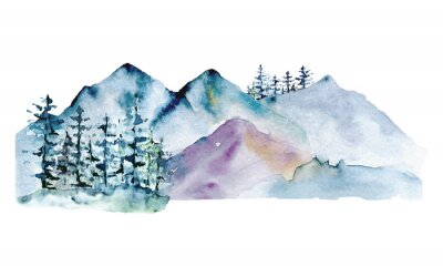 Plakat Mountains, forest nature landscape. Watercolor wildlife. Perfectly for tourism and outdoor design. Hand painting sketch scenery. Illustration isolated on white background.
