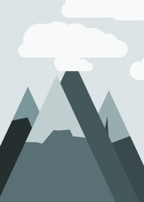 Plakat Mountains Panorame Abstract Random Placed Generative Art background illustration