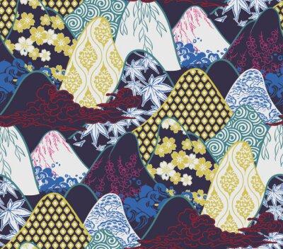 Plakat mountains traditional geometric kimono pattern vector sketch illustration line art japanese chinese oriental design seamless