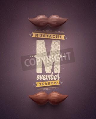 Plakat Movember, wąsy sezon, EPS 10