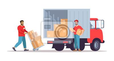 Plakat Moving house service flat vector illustration