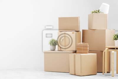 Plakat Moving to a new home. Belongings in cardboard boxes, books and green plants in pots stand on the gray floor against the background of a white wall.